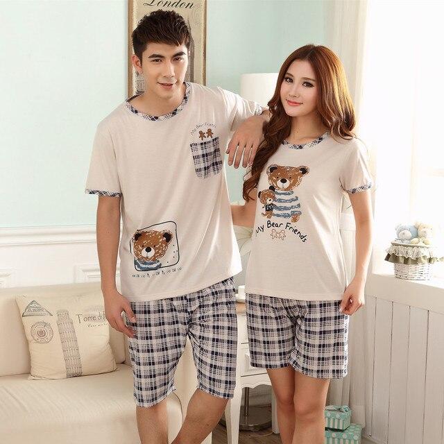 a662b679c Verão pijamas de manga curta de algodão urso pijama masculino feminino  adulto femininas calções dos homens