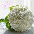 2016 en stock Impresionante Flores de La Boda de Marfil de dama de Honor Nupcial Ramos de flores artificiales de Rose Wedding Bouquet