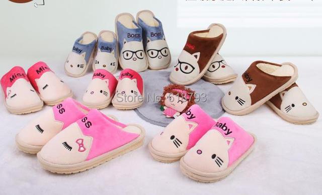 parejas calientes zapatillas de invierno de la familia de dibujos animados zapatos caseros para la madre