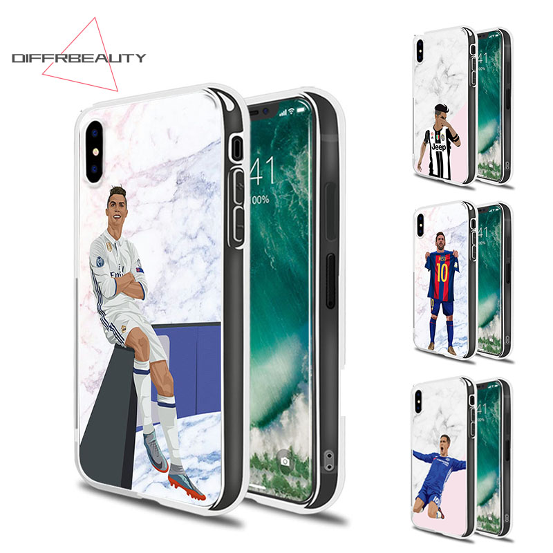 DIFFRBEAUTY Football Soccer Player Marble Cover for iPhone X 8 plus Messi Soft TPU Silicone Phone Case for iPhone 7 6 plus 5 SE