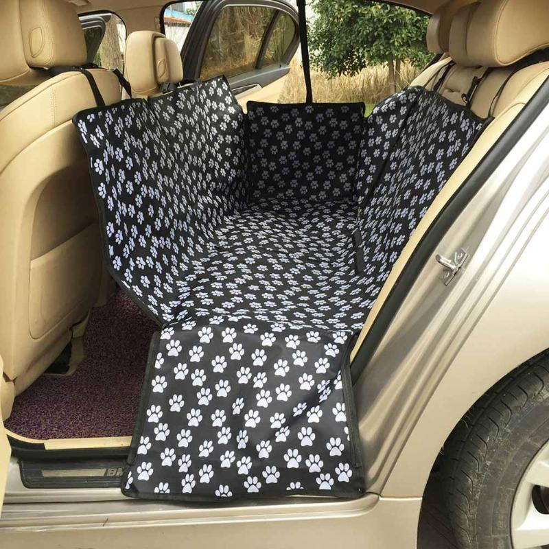 Oxford Fabric Dog Carriers Paw Pattern Back Seat Cover Dog Car Seat Waterproof Mat Hammock Cushion Protector Pet Products
