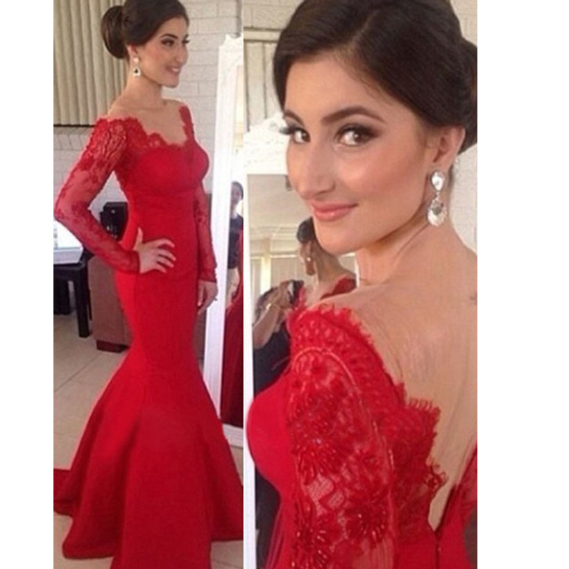 Popular Long Sleeve Backless Red Lace Prom Dresses-Buy Cheap Long ...