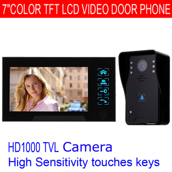 "Free Shipping!7"" Video Door Phone Intercom Doorbell Touch Button Remote Unlock Night Vision Security CCTV Camera"