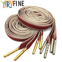 YJRVFINE 2 Pair Thin Flat 2/5 Wide Shoelaces with Metal Tips Red White Colored String for Canvas Shoes Shoe Laces Rope