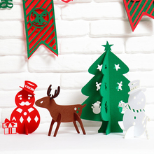 3Piece/Set XMAS Cute Decoration Creative Fabrics Red Snowman Brown Deer Green Christmas Tree Ornament Best Gift for Xmas