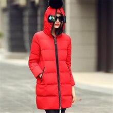 2016 New Women Winter Down Jacket European Style Long Slim Hooded Glasses Coat Female Zipper Pocket Plus Size Outwear ZS424