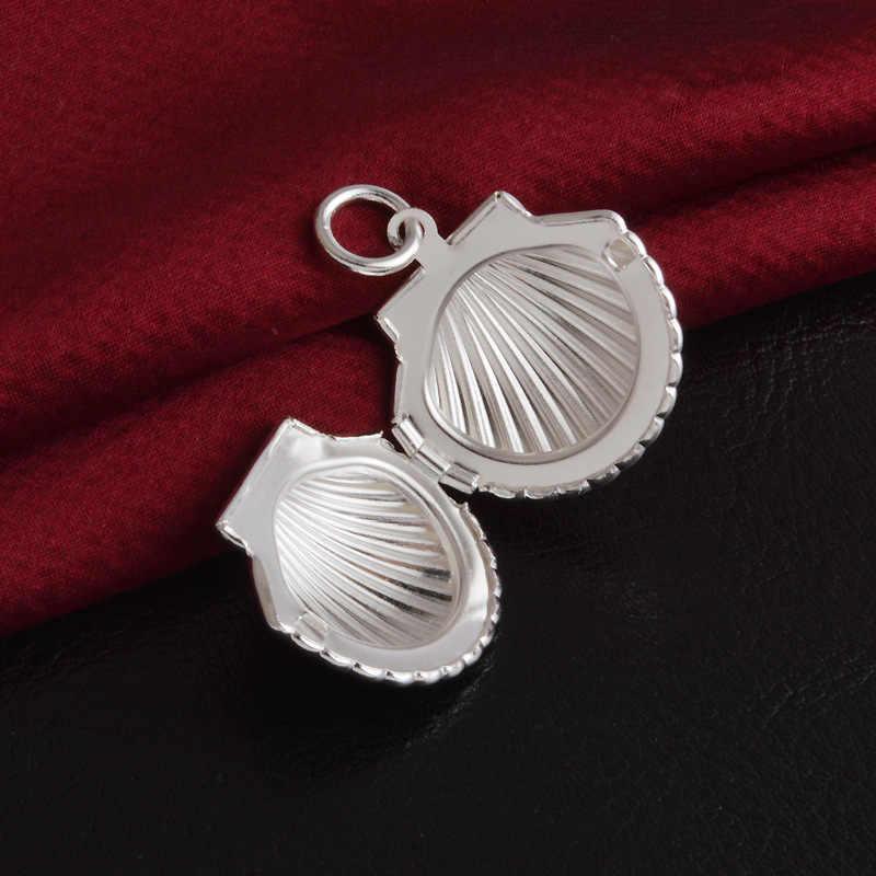 925 silber Shell Halskette Können Offene Medaillon Foto Rahmen Anhänger Halsketten Valentine Liebhaber Geschenk Frauen Schmuck mit schlange kette