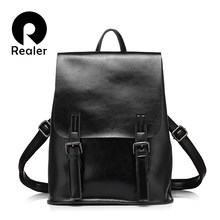 REALER women backpack oil wax cow split leather backpack for teenage girls  school backpacks large capacity 09bf1ff7d894b