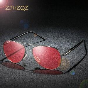 Солнцезащитные очки в металлической оправе, мужские поляризованные очки для вождения, рыбалки, ночного видения с красными линзами