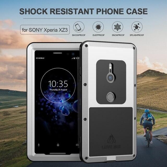 Sony Xperia için XZ3 telefon kılıfı ağır koruma zırh Metal sert ekran filmi temperli cam XZ 3 tam kapak silikon muhafazaları