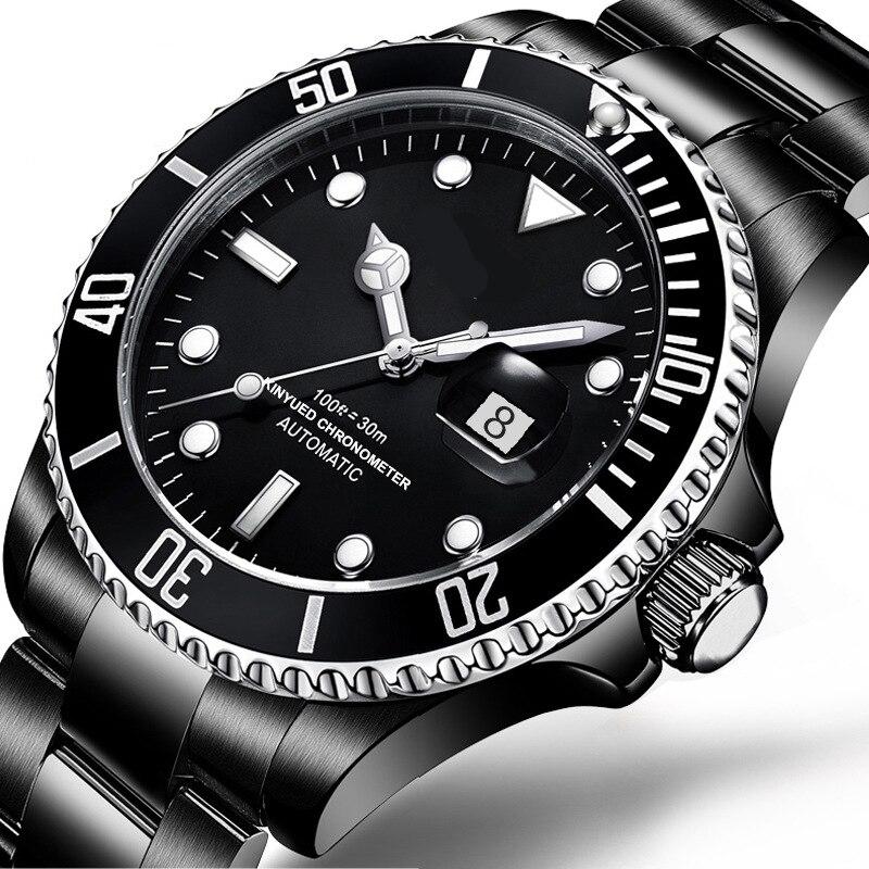 Mens Watch Automatic Mechanical All Black Stainless Steel Waterproof Wrist Watch Man stylish 8 led blue light digit stainless steel bracelet wrist watch black 1 cr2016