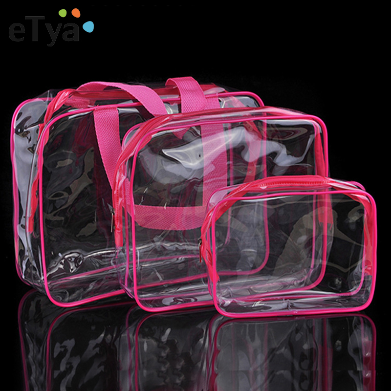 ETya Transparent PVC Bags Travel Organizer Clear Makeup Bag Women Cosmetic Bag Beauty Case Toiletry Tote Make Up Pouch Wash Bags
