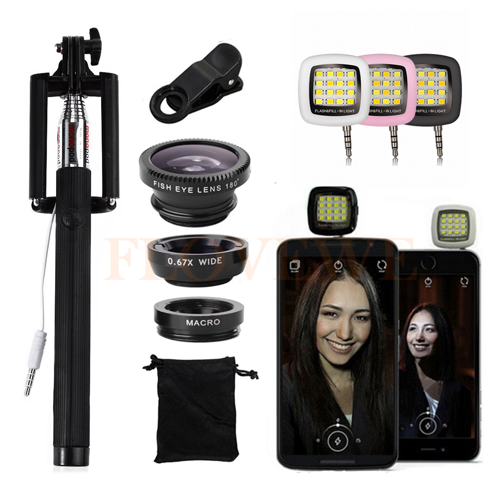 2017 New Phone Camera lentes Kit Fisheye Macro Wide Angle Lens Microscope Selfie Flash Light Selfie