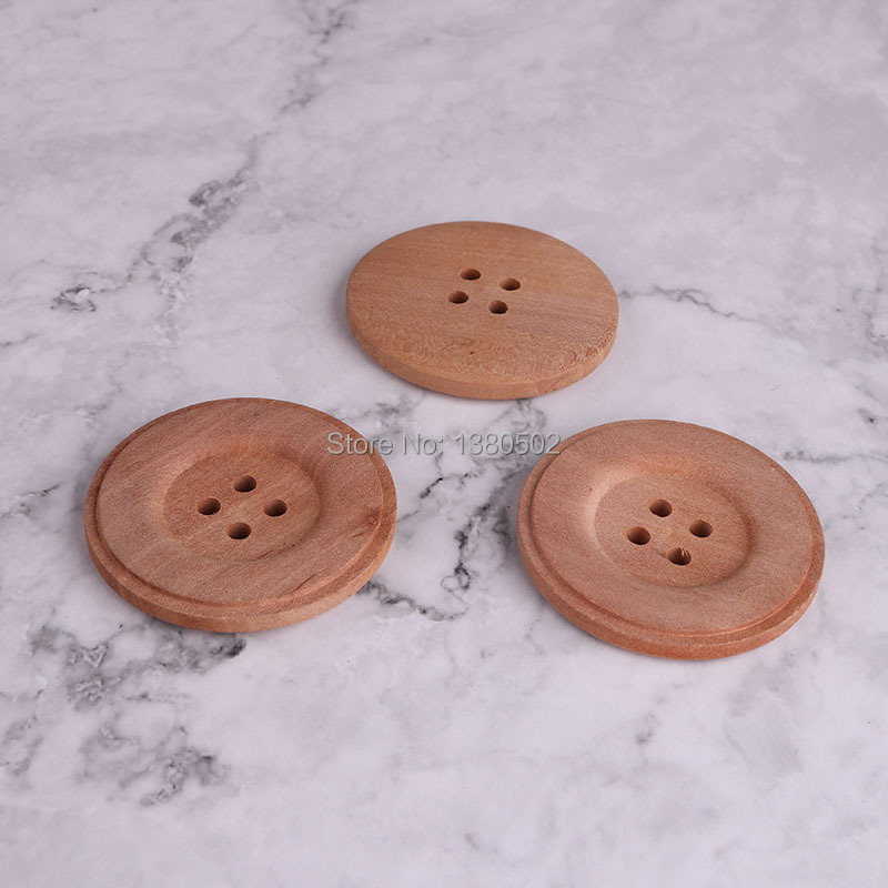 10PCS/Lot Large size Natural Color <font><b>50mm</b></font> wooden <font><b>Buttons</b></font> Garment sewing Accessories for Clothing image