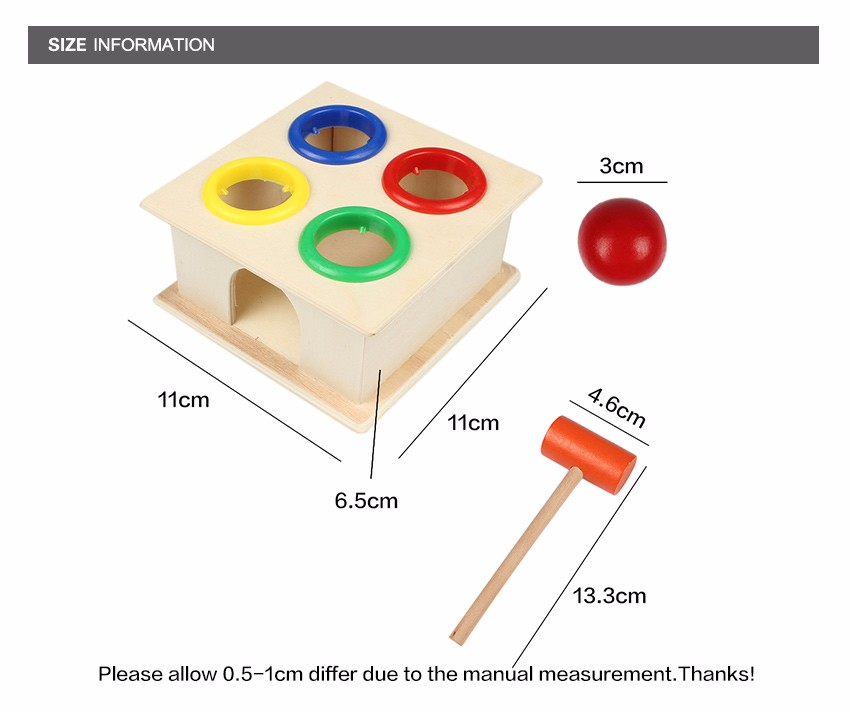 Newborn Colorful Hammering Wooden Ball Hammer Box Geometric Blocks Kids Early Learning Educational Toys Children Gift Toy 2