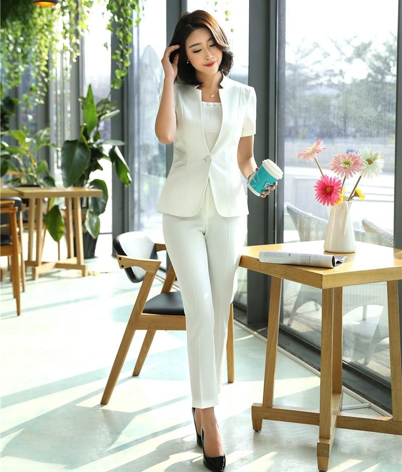 Damen Weiß Blazer Frauen Anzug mit Hose und Jacke Set Arbeitskleidung Kurzarm Hosenanzüge-in Hosenanzüge aus Damenbekleidung bei  Gruppe 1