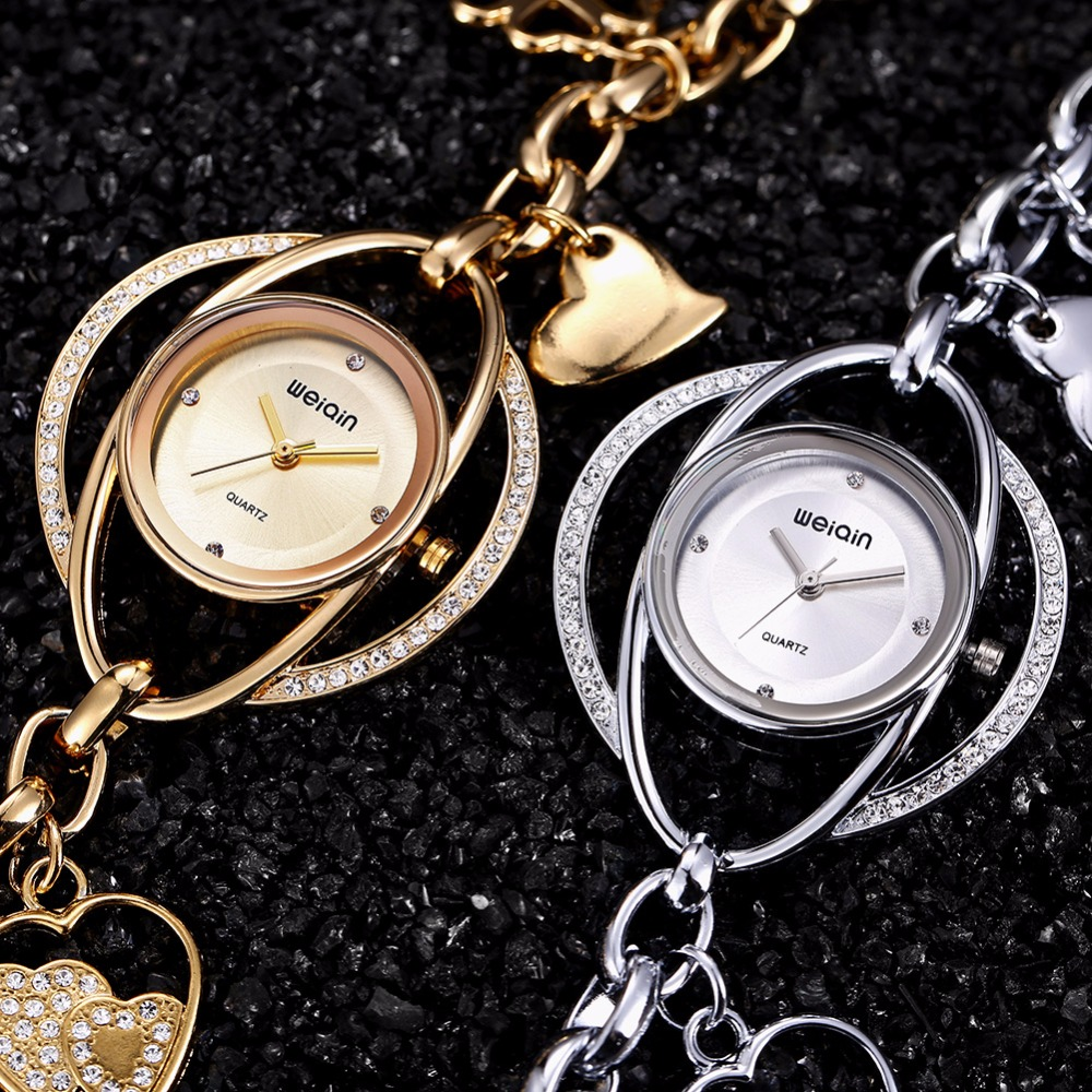 a9d5de8a66f WEIQIN Lucky Petals Bracelet Watches Women Gold Crystal Rhinestone Fashion  Watch Ladies Casual Relogio Feminino orologio donna