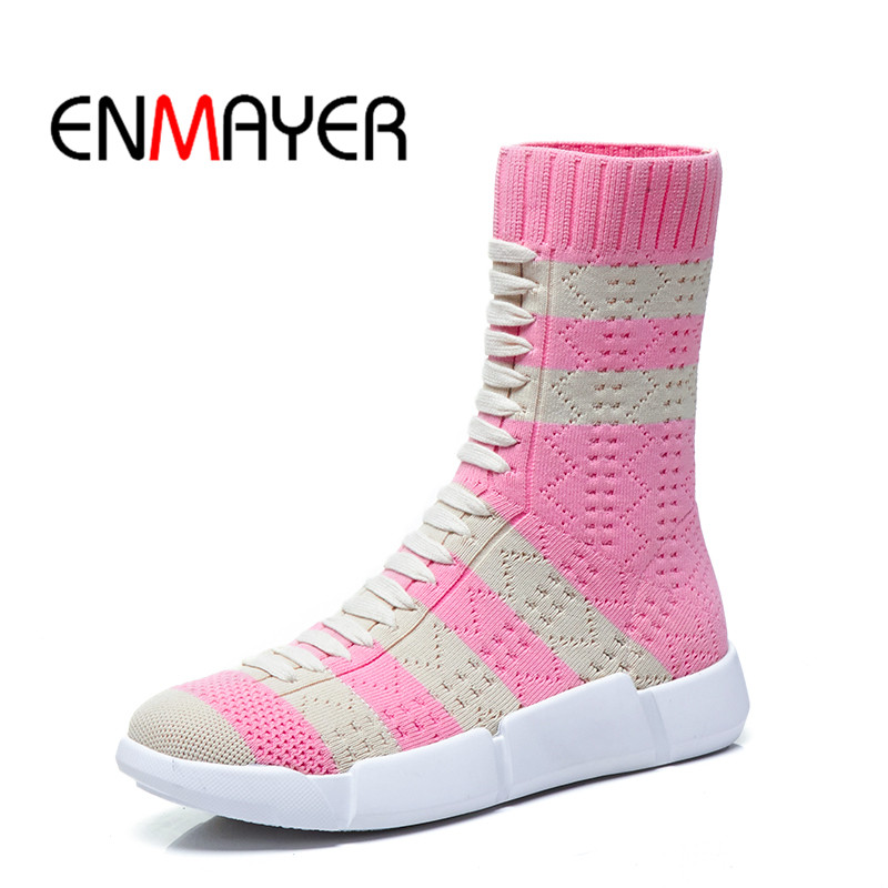 ENMAYER Women Ankle boots Knitting boots Size 33 40 Causal Round Toe Wedges Slip on stripe