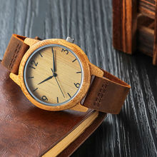 SIHAIXIN Bamboo Wood Watches Male Genuine Leather Watchband Clock Relogio Masculino Mens Wood Gift Watch Unique