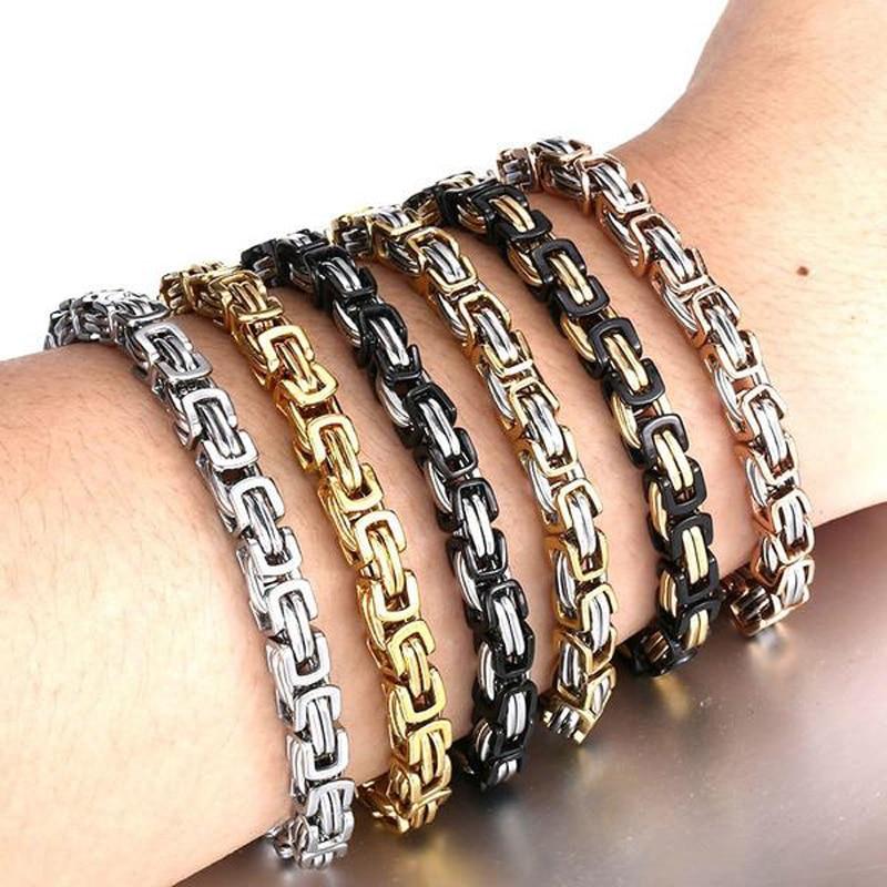 Mens Byzantine Birdcage Chain Link Bracelets 8mm Wide Stainless Steel Men Fashion Jewelry Pulseras Hombre bileklik Braslet