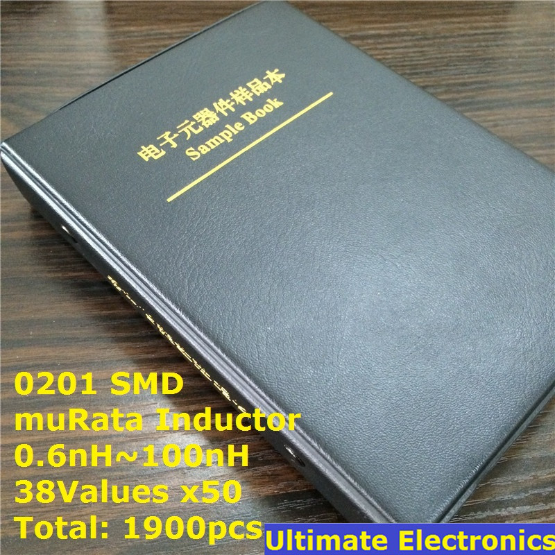 0201 muRata SMD Chip Inductors Assorted Kit 0 6nH 100nH 38Valuesx50 Sample Book
