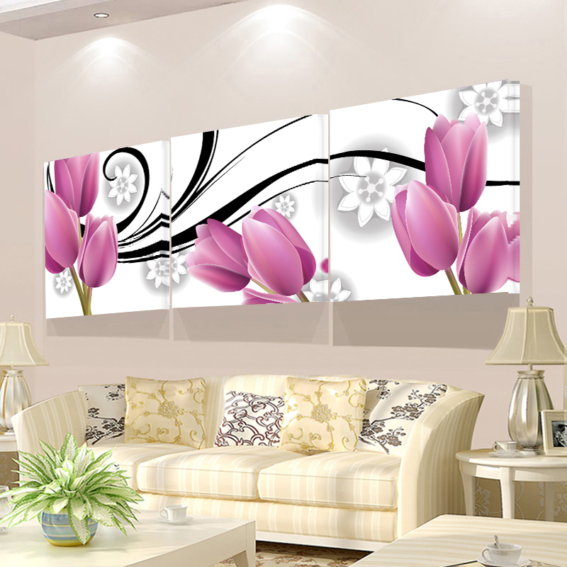 Wall Pictures For Living Room 3 Piece Beauty Flower Poster Canvas Painting Large HD Modular Pictures Wall Art Cuadros Decoracion