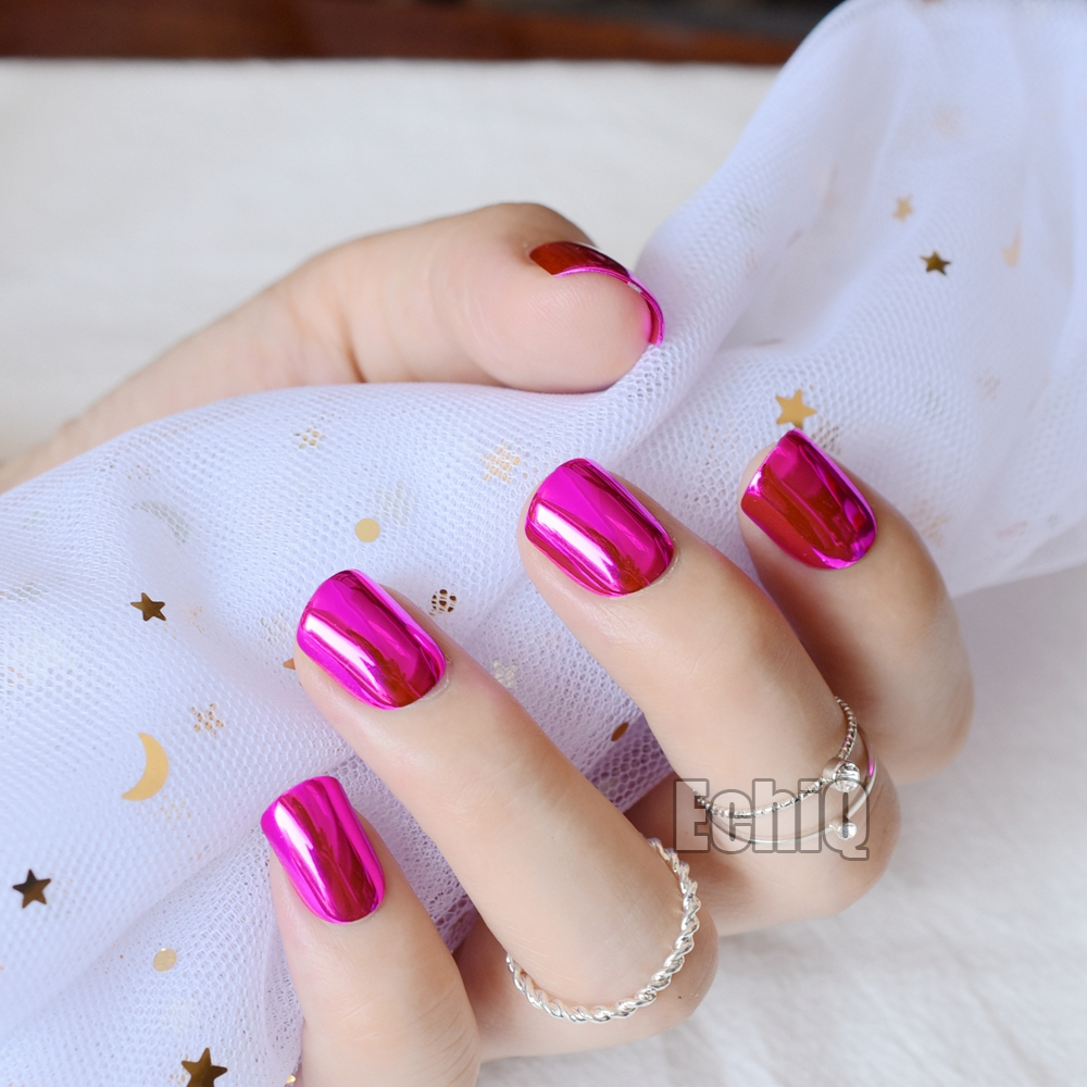 Shiny metallic artificial nail tips dark rose red short full cover will solutioingenieria Images