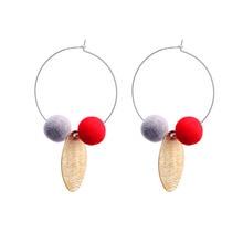2018 Nieuwe trendy korte Dangle Earring rood roze ronde bal Drop Earring Gift groothandel Pendientes Mujer Vintage oorbellen brincos