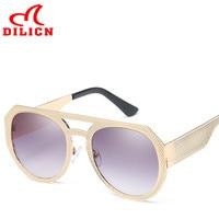 DILICN Vintage Tasarım Metal Çerçeve Güneş Erkekler Bayanlar Aviator Gradient Gri Lens Güneş Gözlük Serin Gözlük óculos sol masculino