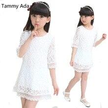 Тэмми Aad От 3 до 14 лет Детские платья 2018 новые летние модные женские кружевном платье белый/розовый праздничное платье принцессы для маленьких девочек Костюмы