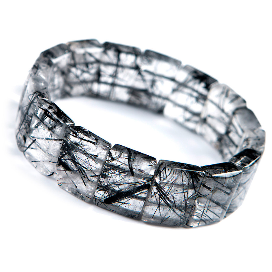 Genuine Brazil Natural Black Rutilated Quartz Crystal Rectangle Bead Stretch Bangle Bracelets For Women Men 18*7mm