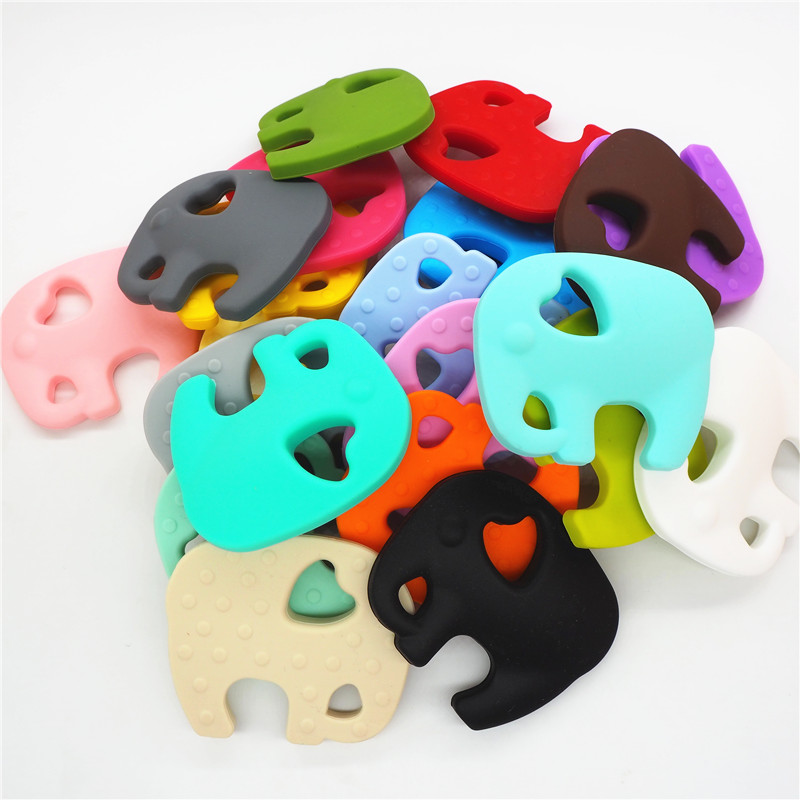 Chenkai 2pcs Silicone Elephant Teether DIY Baby Animal Pacifier Dummy Chewing Sensory Pendant Montessori Teething Toy BPA Free