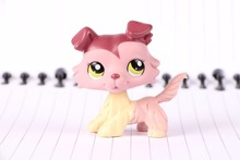 New Pet Collection Figure LPS 1723 mauve plum creme brown collie with green eyes Kids font
