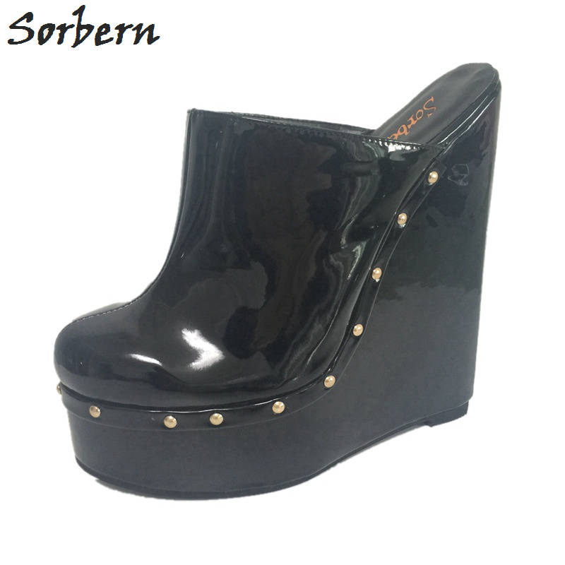 Sorbern Black 20Cm Wedge High Heels Pointed Toe Mules Warm Slip On Pumps Wedges Shoes For Women'S Shoes Size 42 Patent Pu Custom