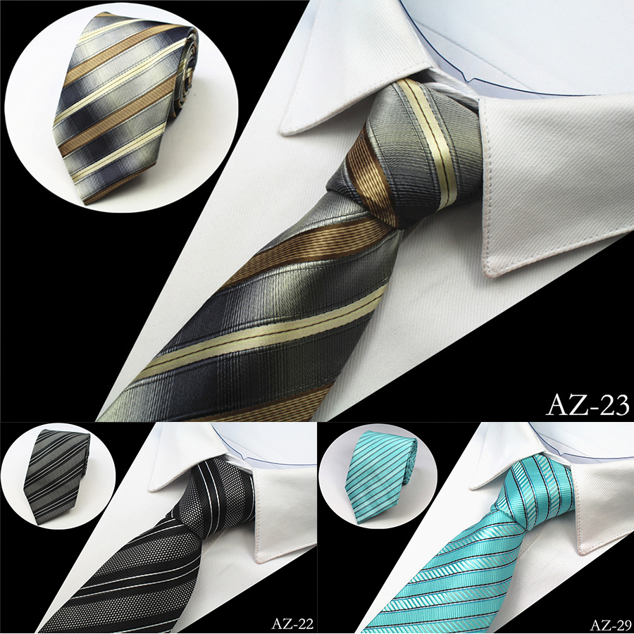 Ricnais New 8cm 100% Jacquard Woven Silk Tie For Men Striped Neckties Man's Neck Tie For Wedding Business Party Factory Sale