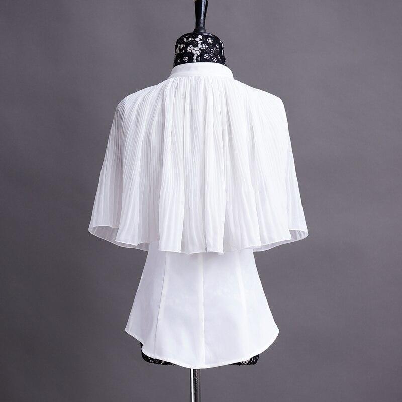 ebc699556e1d € 67.75 |Original 2016 marca gasa Poncho blusas blanco perlas más tamaño  Delgado elegante Oficina manto mujeres verano estilo en Blusas y camisas de  ...