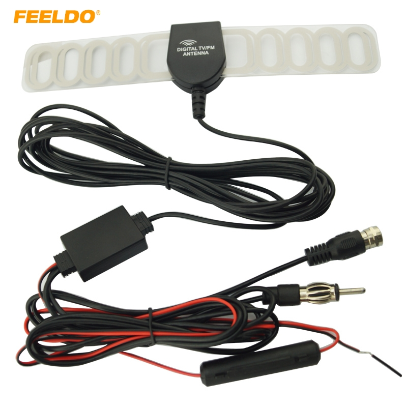 FEELDO Car 2IN1 FM IEC Connecto TV Antenna Radio Antenna With Amplifier Booster