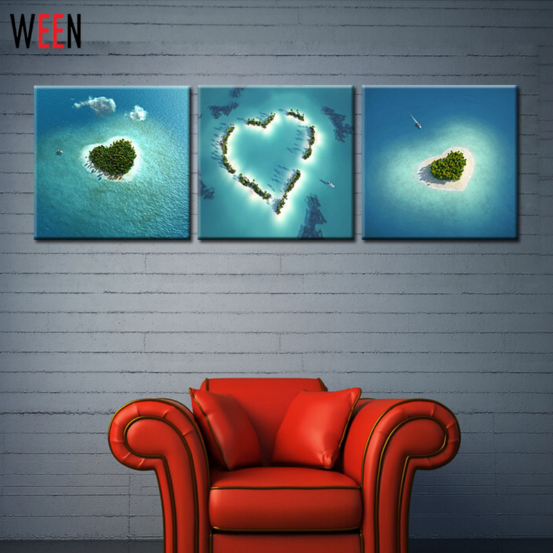 3 Piece Home Decoration Heart Island Natural Scenery Modern Wall Painting Art Picture Paint On Canvas Oil Painting Cuadro Print