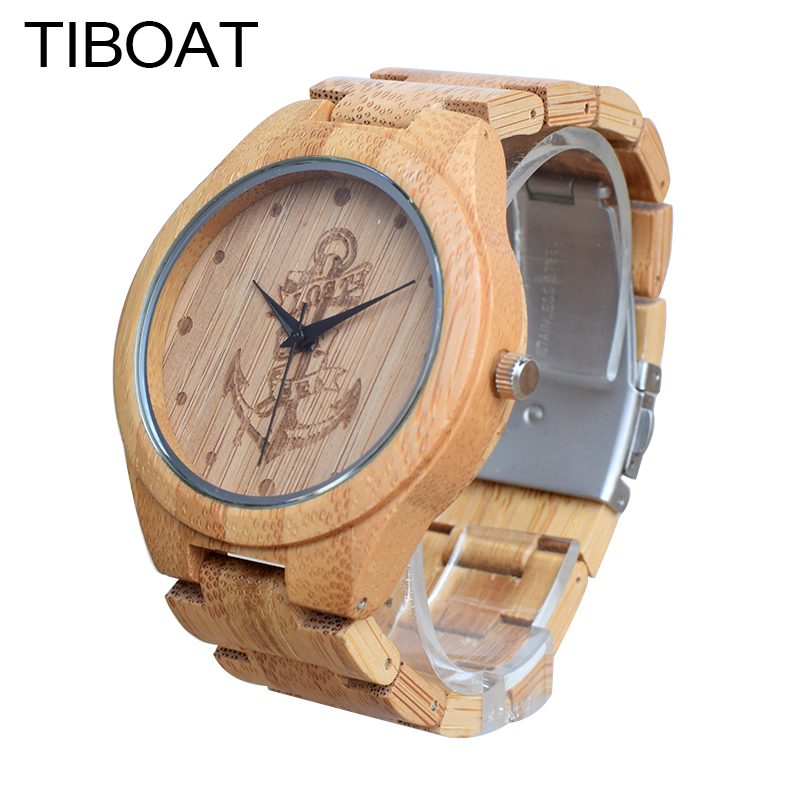 TIBOAT Full Bamboo Wood Watches Lost sea Anchors Bamboo Clock Wooden Wristwatches Men Luxury Watch relogio
