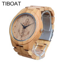 TIBOAT Full Bamboo Wood font b Watches b font Lost sea Anchors Bamboo Clock Wooden Wristwatches