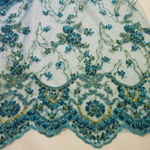 Turquoise Crystal Handmade Embroidery Lace Bead Pearl Wedding Gown