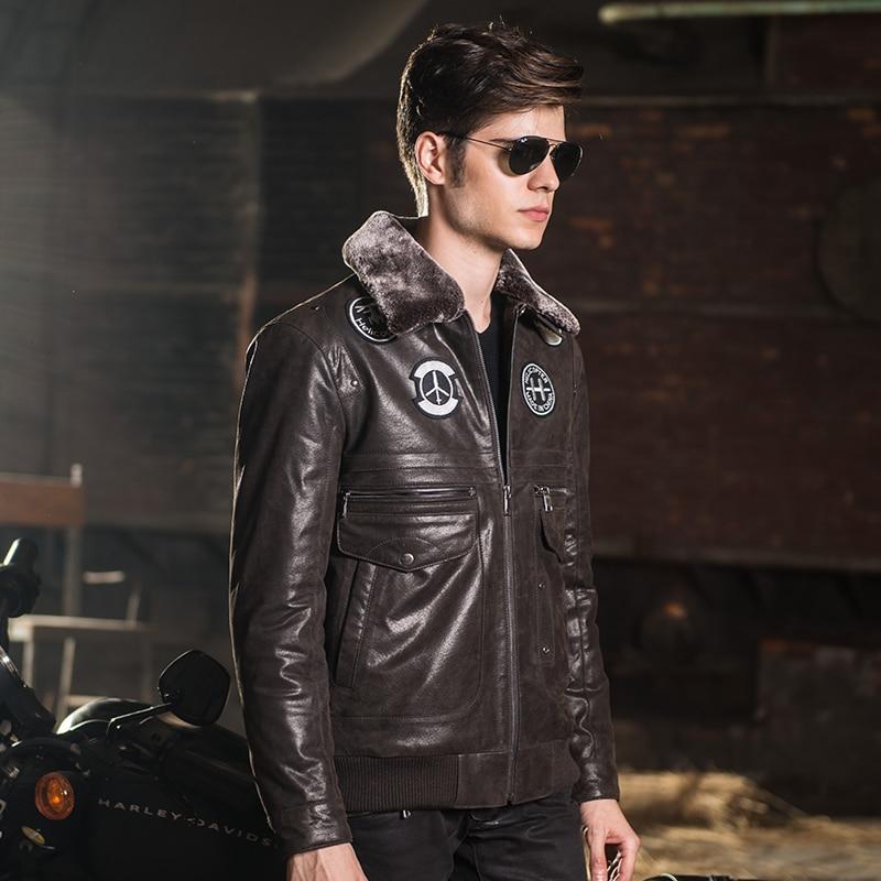 2016 Men s real leather jacket pigskin Genuine Leather jacket men leather coat air force flight Men's real leather jacket pigskin Genuine Leather jacket men leather coat air force flight jackets padding cotton warm
