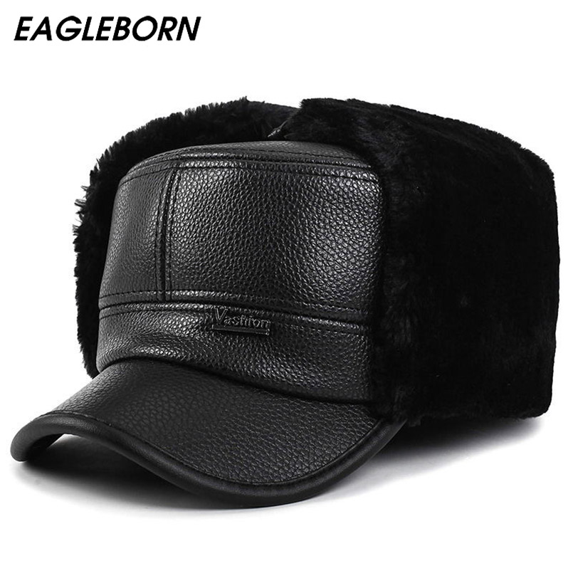 EAGLEBORN 2020 Winter Bomber Hats For Men Winter PU Leather Flat Dad Hat Hats Warm With Ears Flaps Russian Cap