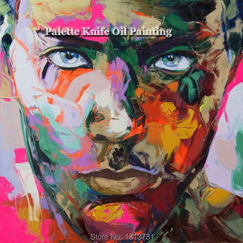 Hand painted Francoise Nielly Palette knife portrait Face Oil painting Character figure canva wall Art picture15-34