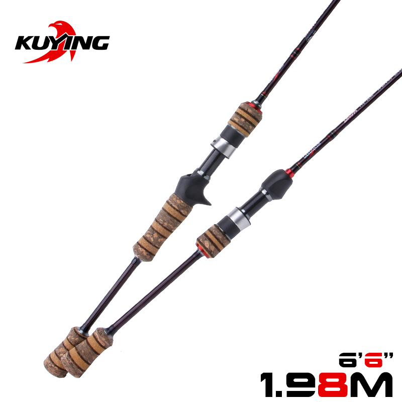 KUYING Teton L Light 1.98m 6'6'' Baitcasting Casting Spinning Lure Fishing Rod Soft Pole Cane Stick Carbon Medium Fast Action