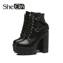2018 New Fashion Black Boots Women Heel Spring Autumn Lace-up Soft Leather Platform Shoes Woman Party Ankle Boots High Heels new genuine leather lace up high heels ankle boots woman wedding party dress shoes square toe ladies fashion boots black red