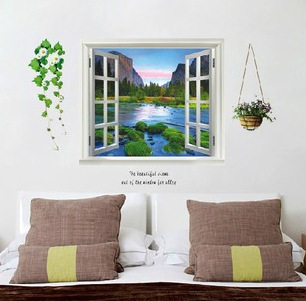 US $6.98 |Finestre Paesaggio Tree River Forest Adesivi Murali 3D Natura  Manifesti Carta Da Parati Home Decor Murale Camera Accessori Arte in  Finestre ...