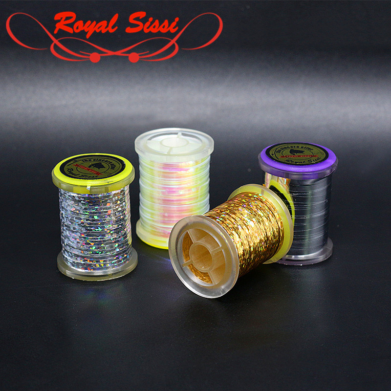 Hot 1 Spool Fly Tying flat mylar Tinsel Flash Tape HOLOGRAPHIC TINSEL SPOOLED for classic streamer patterns and flashback nymphs utc pearl tinsel ice blue
