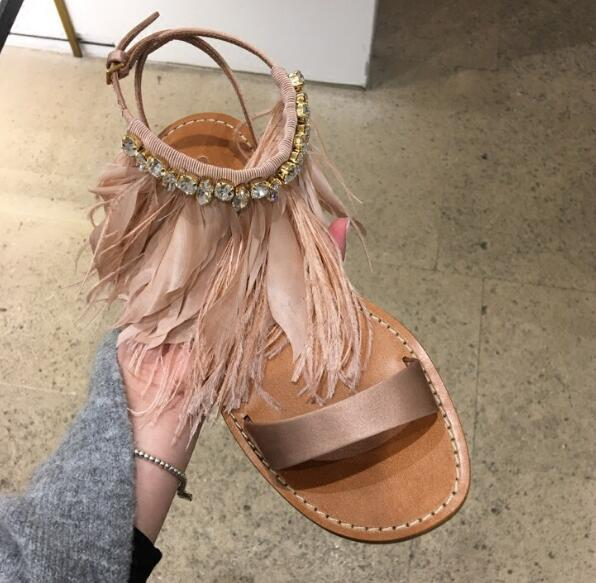 Rousmery Hot 2017 Luxury Rhinestone Buckle Strap Woman Summer Sandals Open Toe Female Feather Shoes Woman Flat Gladiator Sandals new 2017 summer flat sandals sexy pointed toe designer side buckle sandals woman shoes tide brand woman sandals hollow flats