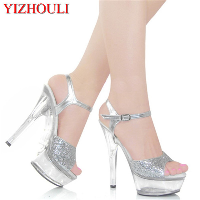 Han edition shoes Noble dinner dress shoes Show large base shoe waterproof  15 cm high heel sandals 97195197f852